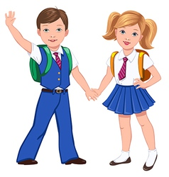 school boy girl bag vector image