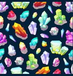 Seamless pattern crystals and gemstones vector