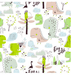 seamless pattern with cartoon dinosaurs isolated vector image