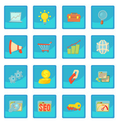 Seo icon blue app vector