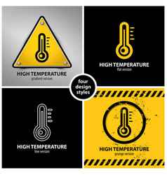 Set high temperature warning symbols vector
