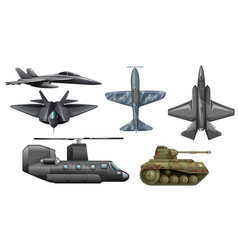Set of army vehicles vector