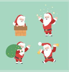 set of christmas santa claus merry vector image