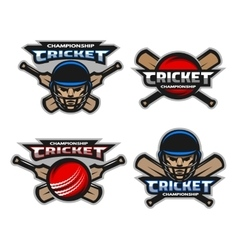 Set of cricket sports logos emblem vector image