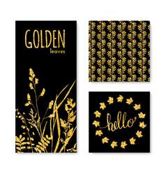 Set of glitter golden leaves banner frame and vector