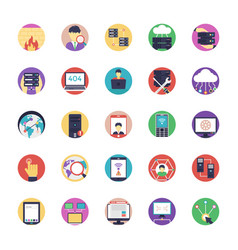 Set of network and hosting flat icons vector