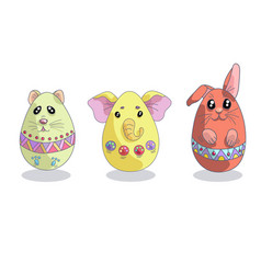 set with 3 cute easter eggs in a shapes of animals vector image