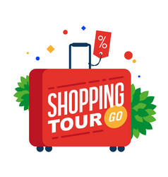 shopping tour red suitcase with text vector image