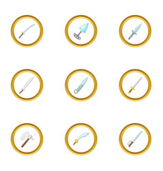 steel arms icons set cartoon style vector image