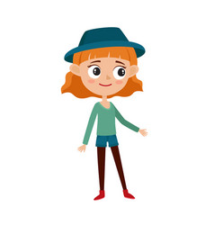 stylish hipster girl cartoon vector image