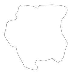 surinam - solid black outline border map of vector image