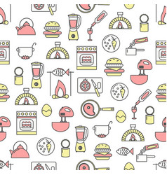 thin line art cooking seamless pattern vector image