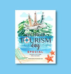 Tourism day poster design with nature hill river vector