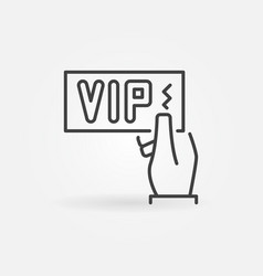 Vip card in hand icon in thin line style vector