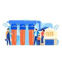 Water filter installation vector