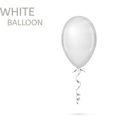White Balloon with ribbon isolated vector