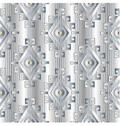 white tribal striped geometric 3d seamless pattern vector image