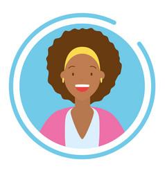 woman portrait round icon vector image