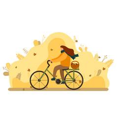 Woman ride bike with basket mushrooms autumn vector