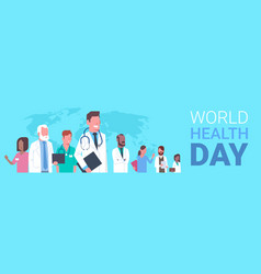 World health day poster with team of medical vector