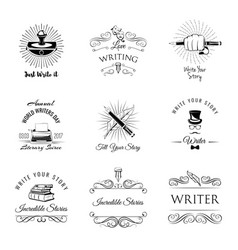 Writer vintage labeles and badges set vector