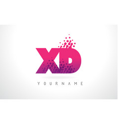 Xd x d letter logo with pink purple color and vector