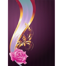 Golden ornament rose and elegant ribbon vector image vector image