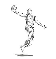 line sketch basketball player vector image