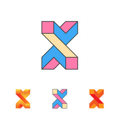 optical letter x logo templat vector image vector image