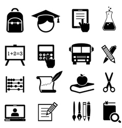 School learning and education icons vector