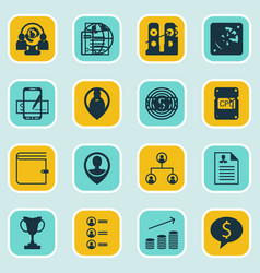 set of 16 hr icons includes business goal vector image vector image