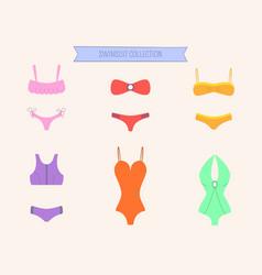 women colorful swimsuit set bikini and monokini vector image vector image