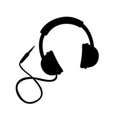 black icon headphones cartoon vector image vector image