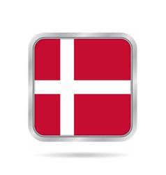 flag of denmark shiny metallic gray square button vector image