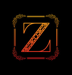 letter z with ornament vector image vector image