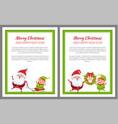 merry christmas santa and sled vector image