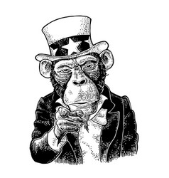monkey uncle sam with pointing finger engraving vector image