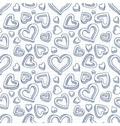 Seamless doodle pattern with hand drawn hearts vector image