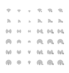 Set of different flat wi-fi and wireless icons for vector image vector image