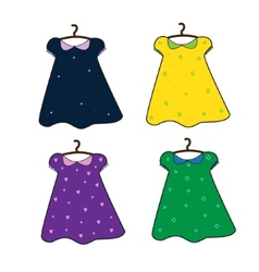 set of hand drawn doll dresses vector image vector image