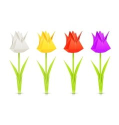 set of tulips paper origami vector image vector image