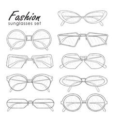 fashion sunglasses set hand drawn glasses vector image