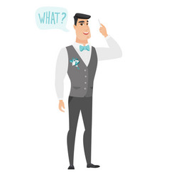 groom with question what in speech bubble vector image vector image