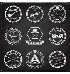 Hipster labels chalkboard vector image