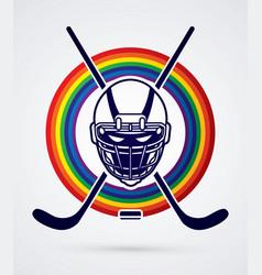 Hockey helmet front view graphic vector
