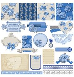 Vintage Blue Flowers vector image vector image