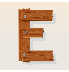 wooden letter e vector image vector image