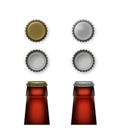 Beer glass bottle necks with caps top back view vector