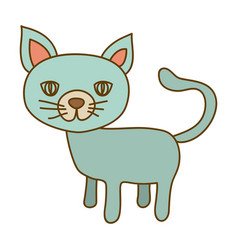 Light colored hand drawn silhouette of cat vector