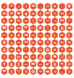 100 national flag icons hexagon orange vector image